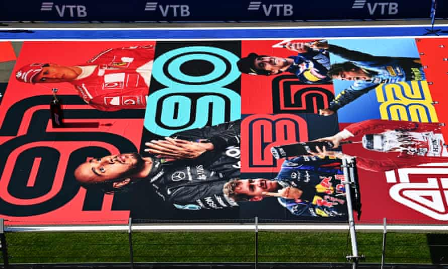 A grid sticker at Sochi last month shows the number of race wins for Michael Schumacher, Lewis Hamilton, Sebastian Vettel, Alain Prost, Ayrton Senna and Fernando Alonso.