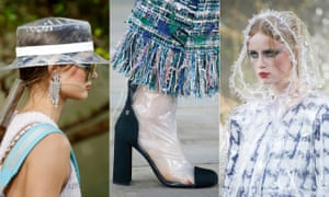 "Plastic Leading on encouragingly from 2017's word of the year – ""complicit"" – the most out-there trend of 2018 is transparency, or plastic to be particular. Chanel presented its polymers to the backdrop of a waterfall – great for spring showers."