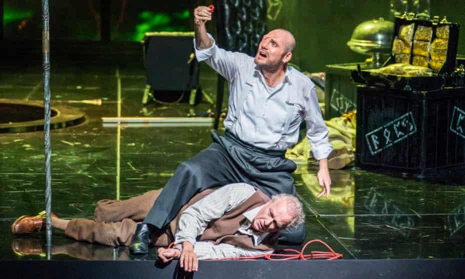 John Lundgren as Wotan and Johannes Martin Kränzle as Alberich in Das Rheingold at the Royal Opera House, London.