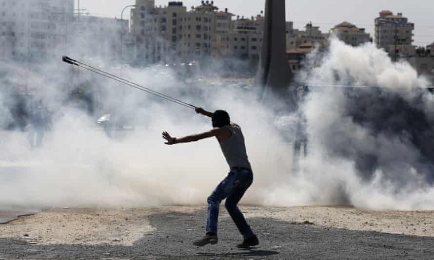 A Palestinian protestor in the West Bank.