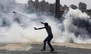 Palestinian demonstrator in the West Bank city of Ramallah