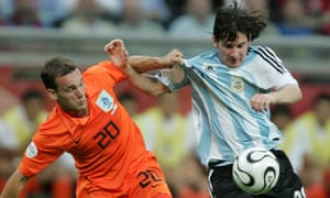 Lionel Messi goes up against Wesley Sneijder during Argentina's match against Holland at the 2006 World Cup.
