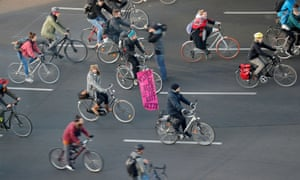 Berlin, Germany: Activists cycle to block traffic at Ernst-Reuter-Platz