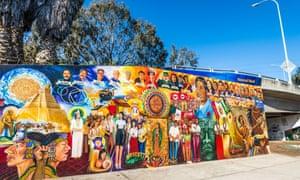Historical mural at Chicano Park. Barrio Logan, San Diego, California, United States.