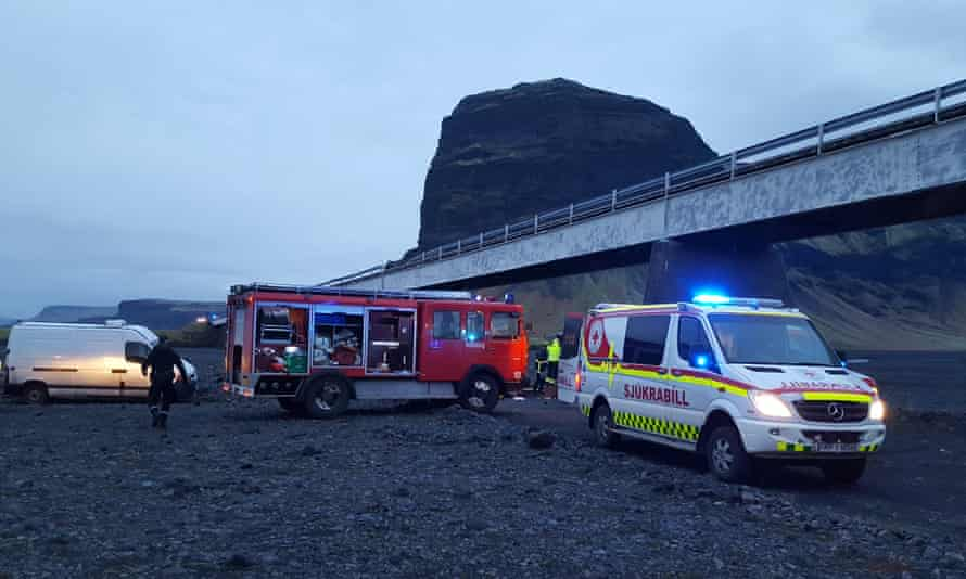 Emergency services at the scene. Photograph: Adolf Ingi Erlingsson