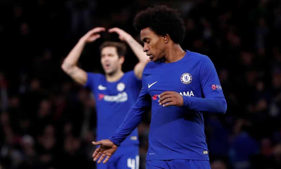Chelsea's Willian looks dejected after missing a chance to score against Atlético Madrid in their Champions League game at Stamford Bridge