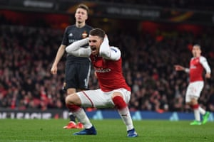 Arsenal's Aaron Ramsey reacts after missing a chance.