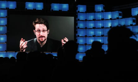 Edward Snowden addresses attendees at a technology conference in Lisbon on 4 November 2019.