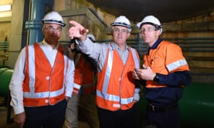 Malcolm Turnbull tours the Tumut 3 power station while announcing the government's plan for a major expansion of the Snowy Hydro Scheme