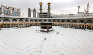 The Kaaba, Islam's holiest shrine, at the centre of the Grand Mosque in the holy city of Mecca