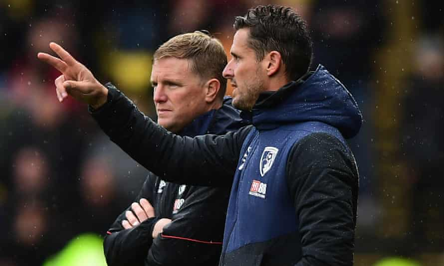 Eddie Howe, left, and his assistant Jason Tindall paid from their own pockets for a fitness coach and a masseur. 'It set us back a bit but looking back, it was worth it,' Tindall says.