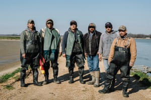Farm workers (L to R) Patricio Andablo, Narciso Villano, Emmanuel Garduño, Sergio Zuñiga, Junior Moreno, and Juan Andablo stand for a portrait at Jubilee Farms. The men all work under the H2A visa for temporary agricultural workers.