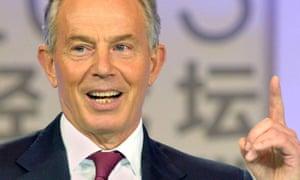 Tony Blair addresses the CCTV Financial Forum in Beijing.