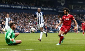 Mo Salah scores his 41st goal of the season, at West Brom on Saturday. 'I've had many talks with Mo and he sees what the others do for him,' Klopp says.