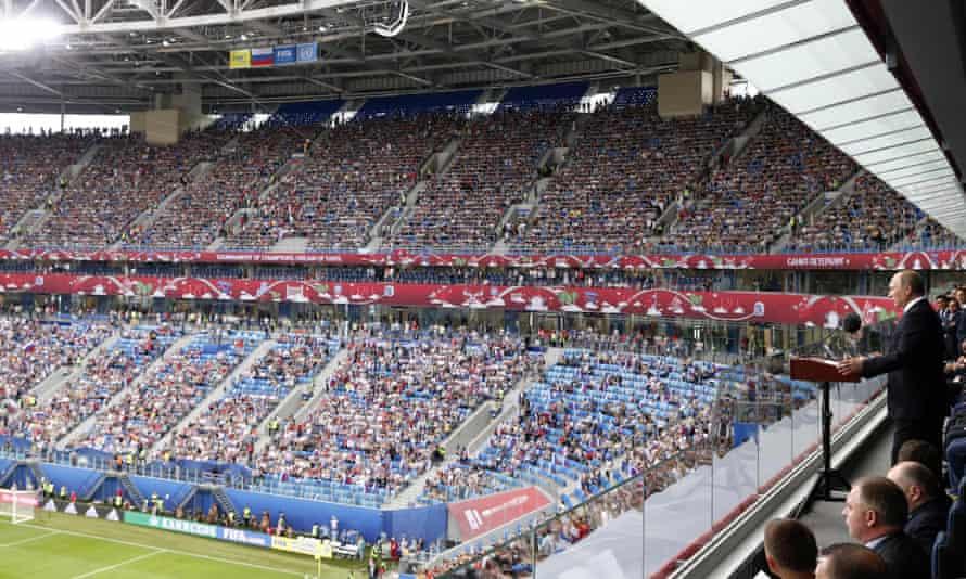 Russian president Vladimir Putin addresses the crowd during the opening ceremony at the Krestovsky Stadium.