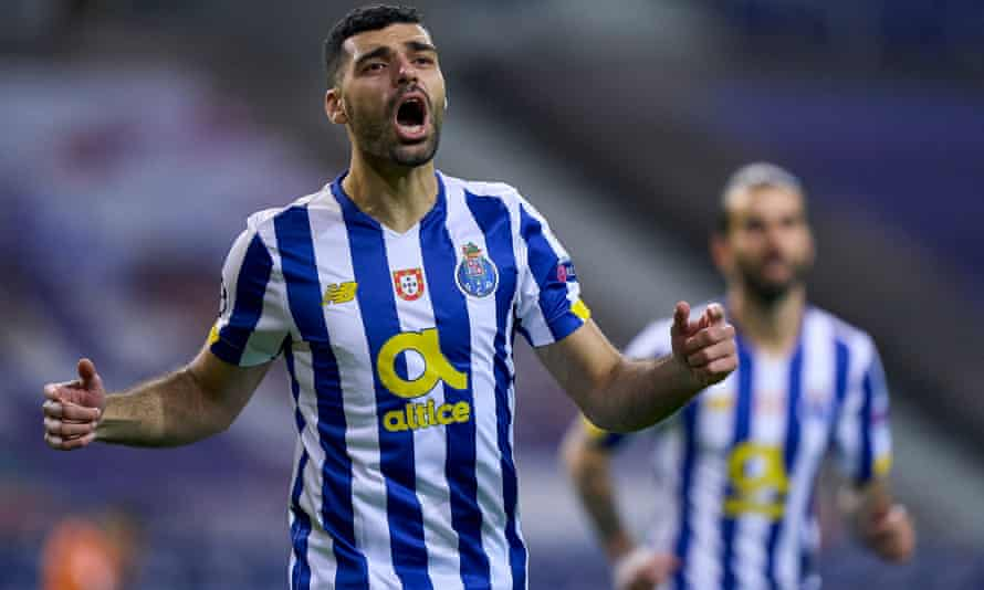 Mehdi Taremi celebrates after giving Porto an early lead in their Champions League last-16 first leg against Juventus.