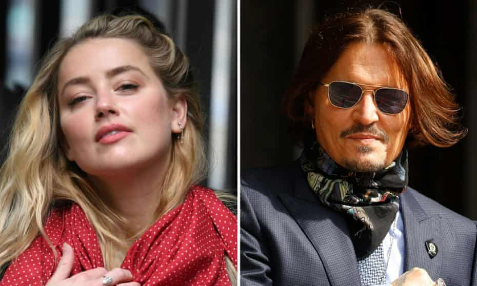 A composite picture of Amber Heard and Johnny Depp arriving at the high court in London in July.