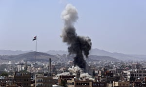 Saudi-led coalition airstrikes on a Houthi-held military base i