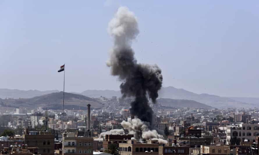Saudi-led coalition airstrikes on a Houthi-held military base i