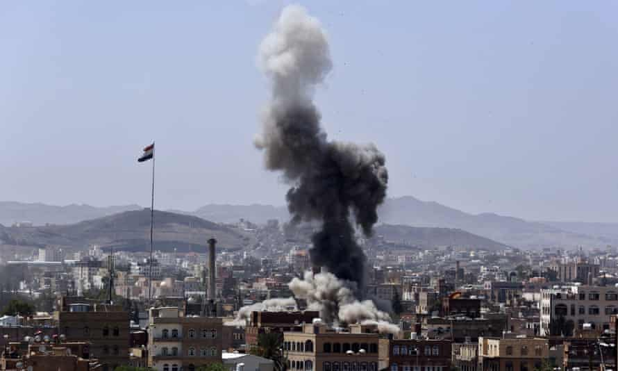Plume of smoke above city of Sana'a
