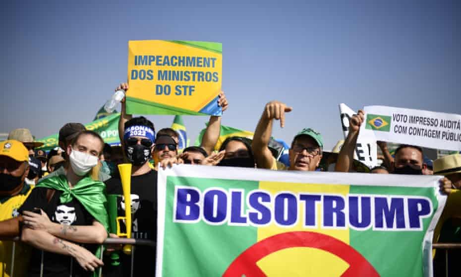 Supporters of Jair Bolsonaro march in Brasília, 7 September.