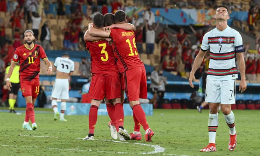 Cristiano Ronaldo shows the pain of defeat after his European champions Portugal were knocked out of Euro 2020 by Belgium in Seville on Sunday.