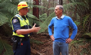 Bob Brown during a community protest over logging in north-west Tasmania in 2016, where he was arrested