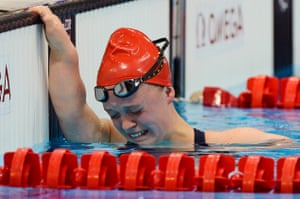 Eleanor Simmonds of Great Britain starts to cry after she wins the Womens S6 400m freestyle final in a new World Record on day three of the London 2012 Paralympic Games.
