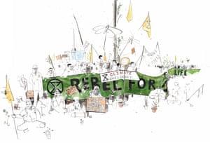Extinction Rebellion, Waterloo Bridge, London, April 2019 drawing by George Butler.