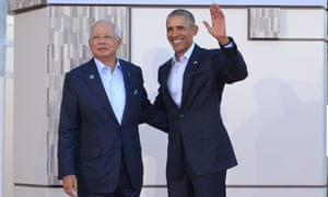 US President Barack Obama greets Malaysia's Prime Minister Najib Razak at an ASEAN meeting in February. The US State department has criticised the Najib government for muzzling the press.