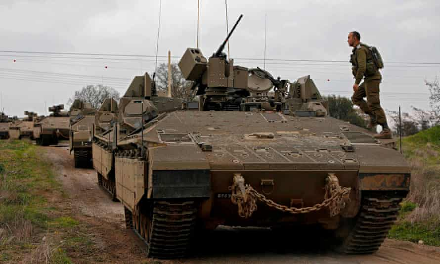 Israeli troops take part in a military drill in the Israeli-annexed Golan Heights on 13 January.