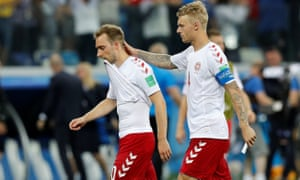 Denmark's Christian Eriksen and Simon Kjaer