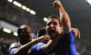 (Left to right) Didier Drogba, John Terry and Frank Lampard celebrate Terry's goal against Napoli in 2012. There was plenty more drama to come on an emotional night.