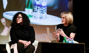Emily Maitlis and Elizabeth Pears on stage at Changing Media Summit 2018
