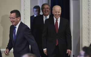 Joe Biden and Connecticut governor Dan Malloy arrive to speak at the White House.