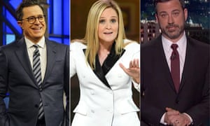 Stephen Colbert, Samantha Bee and Jimmy Kimmel. In recent weeks, there's been a shift in tenor in the late-night hosts' monologuing.