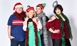 The Gavin and Stacey seasonal special. James Corden as Neil 'Smithy' Smith, Joanna Page as Stacey Shipman, Mathew Horne as Gavin Shipman and Ruth Jones as Nessa Jenkins