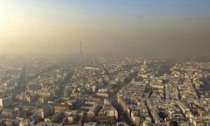 A haze of pollution in Paris.