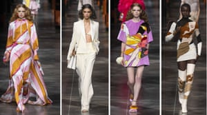 FendiKim Jones's first live show for Fendi took place under porticos that took their cue from the Roman brand's HQ in the Eternal City. For this second ready-to-wear collection, he mined the archives and found old logos designed by Studio 54 favourite, Antonio Lopez. He reimagined them as prints and emblems on trench coats, skin-tight co-ords and thigh-high boots. Meanwhile, saturated 70s hues were splashed across bandeau maxis and kaftans. It was 'a celebration,' said Jones. 'Our woman has let loose a bit - she's going out, dressing up,' said Jones. Let the days of disco commence.