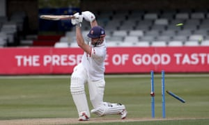 Essex's Nick Browne is bowled out by Durham's Chris Rushworth at Chelmsford.