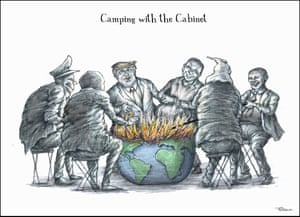 Camping With The Cabinet, a cartoon by Hilary Brown