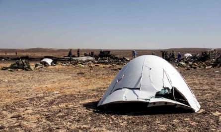 Debris from the Russian plane that crashed in Egypt.