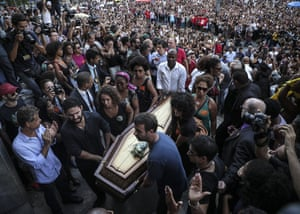 Rio de Janeiro, BrazilMourners watch as the coffin of local councilor Marielle Franco is brought to the Municipal Chamber. A human rights activist who had become a harsh critic of the Army's intervention in the security of the city, was shot and killed while traveling in her vehicle after a political event.