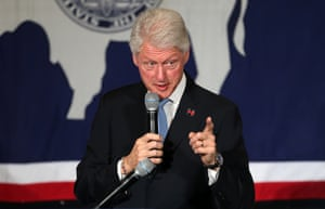 Former president Bill Clinton campaigns for his wife, Democratic presidential candidate Hillary Clinton.
