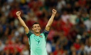 Portugal's Cristiano Ronaldo celebrates at the end of the game