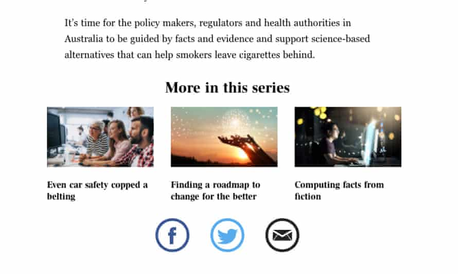 A screenshot of Phillip Morris articles in the Australian