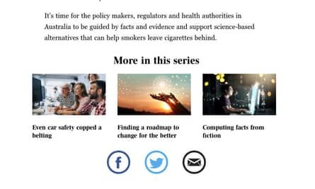 A screenshot of Phillip Morris articles in the Australian