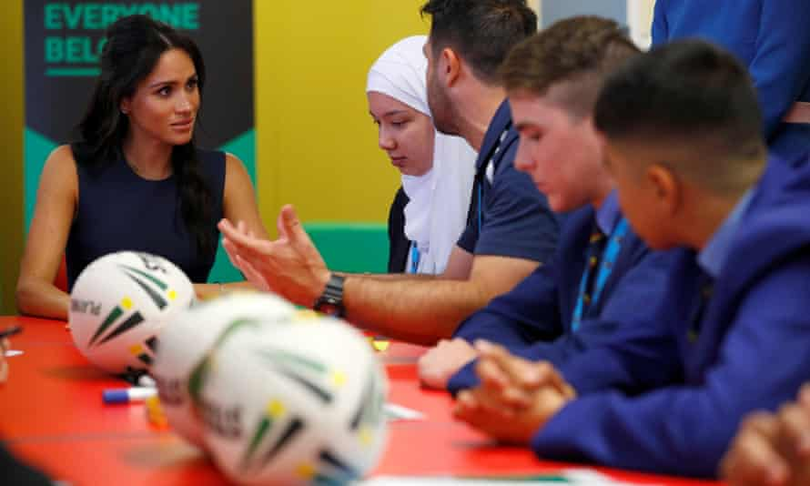 The Duchess of Sussex speaking to students at the western Sydney school.
