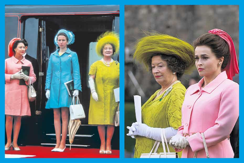 The real royals arrive for the investiture of Prince Charles in 1969 (left); and the Queen Mother and Princess Margaret in The Crown