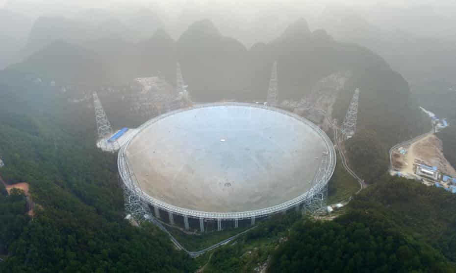 The five-hundred-metre aperture spherical radio telescope (Fast) on its first day of operation in Pingtang.